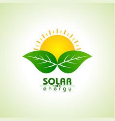 Solar energy concept with leaf and sun vector