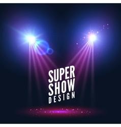 Spotlights empty scene illuminated stage design vector