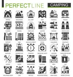 summer camping classic black mini concept symbols vector image vector image