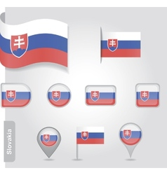 The Slovakia flag - set of icons and flags vector image vector image