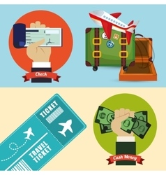 Travel payment check cash ticket banner vector