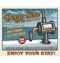 Vintage deep sea fishing poster vector image vector image