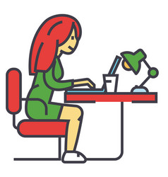 Woman working on notebook in office or at home vector