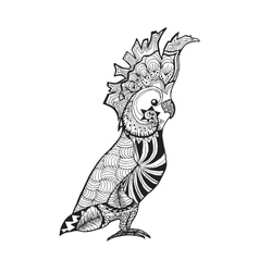 Zentangle stylized cockatoo Sketch for tattoo or vector image vector image