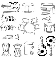 Doodle of musical instrument collection stock vector