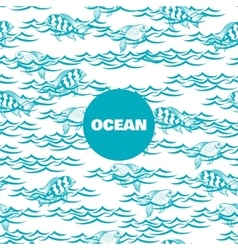 Ocean seamless pattern with fish vector