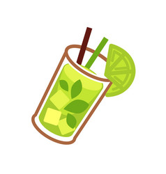 Mojito green cocktail in glass with lime slice vector