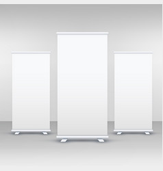 Three standee or rollup banner display mockup vector