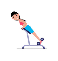 Girl swinging back training apparatus vector