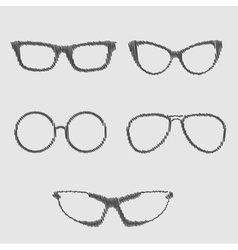 Glasses set isolated icons scribble effect vector