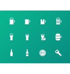 Bottle and glass of beer icons on green background vector