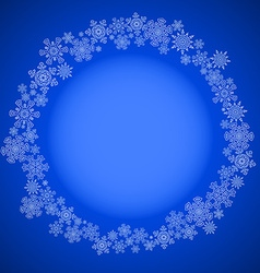 Blue christmas frame with snowflakes circle vector image