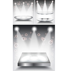 3d empty white podium with light vector