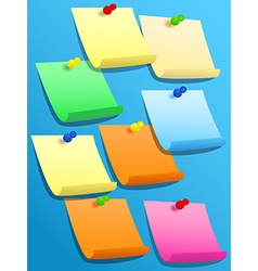 Sticky squares of different colors with pins vector image
