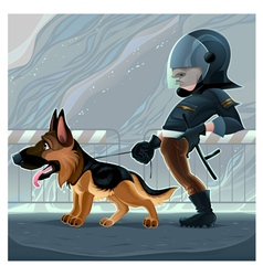 Cop with dog vector