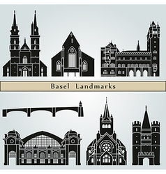 Basel landmarks and monuments vector image