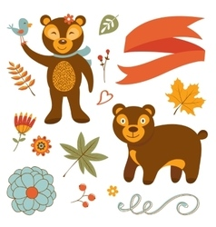 Cute bears colorful set with flowers leaves and vector