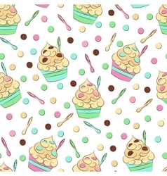 Cute seamless frozen yogurt pattern sweet cold vector