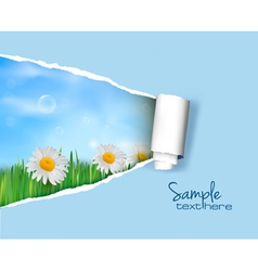nature background with ripped paper vector image
