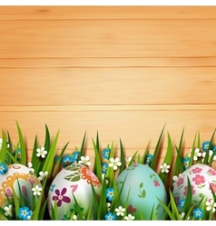 Template card with easter eggs and flowers vector