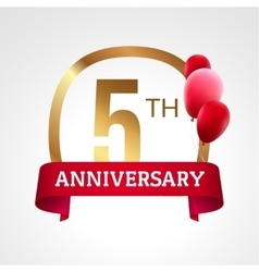 Celebrating 5th years anniversary golden label vector