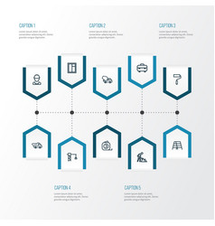 Architecture outline icons set collection of wall vector