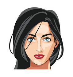 Beautiful woman face fashion image vector