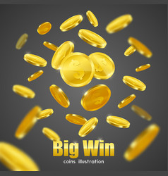 Big win gold coins advertisement background poster vector