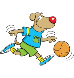 Cartoon Dog Playing Basketball vector image