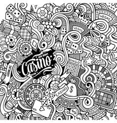 Cartoon hand-drawn doodles casino gambling vector image vector image