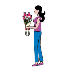 Cartoon woman with bouquet flower vector