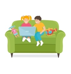Children Use a laptop sitting on the couch vector image