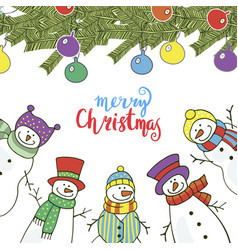 christmas card with funny snowmen vector image