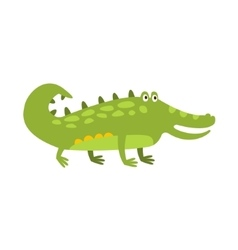Crocodile standing on four legs flat cartoon green vector