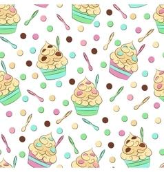 Cute seamless frozen yogurt pattern sweet cold vector
