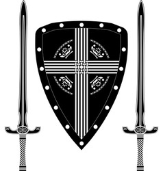 fantasy shield and swords of european warriors vector image vector image