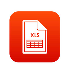 file xls icon digital red vector image vector image