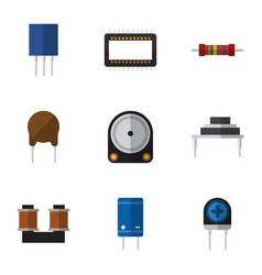 Flat icon device set of mainframe transistor vector