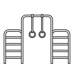 Gymnastics rings and ladder icon outline style vector image