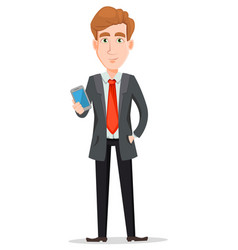 Handsome businessman in suit holding modern vector
