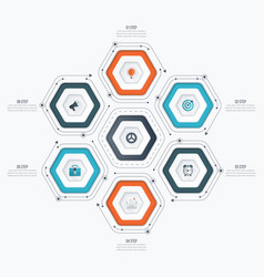 infographics template 6 options with hexagon vector image vector image