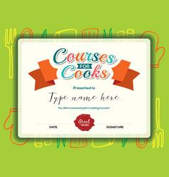 Kids cooking courses certificate design template vector