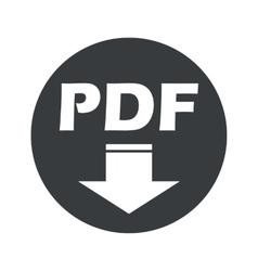 Monochrome round pdf download icon vector