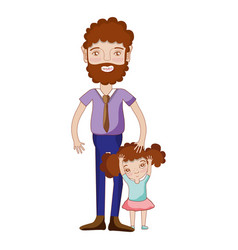 Nice father with his daughter and casual wear vector