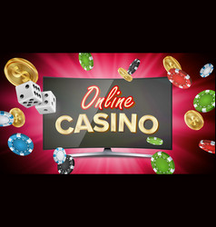 Online casino banner with computer monitor vector