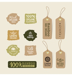 Set of eco friendly fabric tag labels design vector image