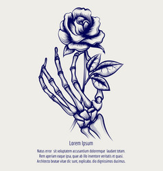 Sketch of skeleton hand with rose vector