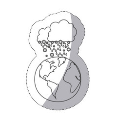 Sticker silhouette earth world cloud with cumulus vector