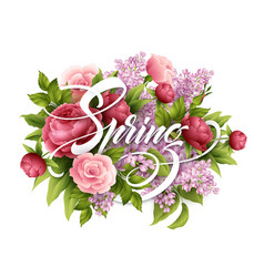 stylish poster with beautiful flowers and spring vector image vector image