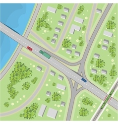 The map with driving directions top view vector
